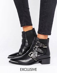 Office Aggy Black Leather Buckle Strap Point Ankle Boots Black Leather