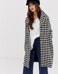 Moon River Oversized Dogtooth Coat Black Houndstooth Multi