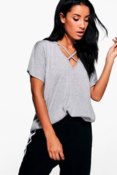 Boohoo Oversized Cross Strap T Shirt Grey Marl