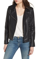 Members Only Lace Up Faux Leather Biker Jacket Black