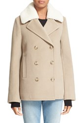 Alexander Wang Women's T By Double Breasted Wool Peacoat With Genuine Shearling Collar