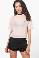 Boohoo Petite Amber Oversized Mesh Tee With Shell Applique Nude