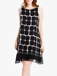 Max Studio Sleeveless Print Mini Dress Black Grey