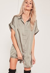 Missguided Satin Short Sleeve Shirt Dress Green