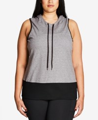 City Chic Trendy Plus Size Crisscross Back Hoodie Grey