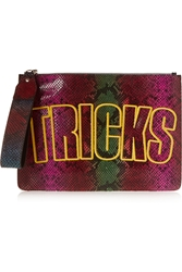 House Of Holland Bag Of Tricks Embroidered Snake Effect Leather Clutch