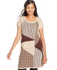 Style And Co. Patchwork Cable Knit Tunic Only At Macy's New Rye Tea Biscuit Heather