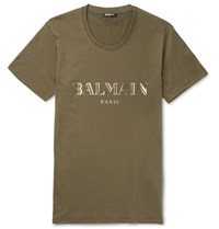 Balmain Metallic Printed Cotton Jersey T Shirt Army Green
