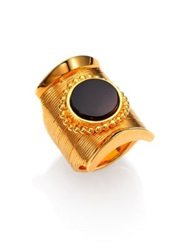 Chlo Djill Black Onyx Short Ring Gold