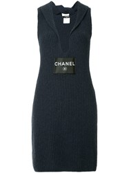 Chanel Vintage Ribbed V Neck Dress Blue