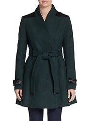 Badgley Mischka Flared Wool Blend Coat Emerald