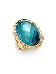Jude Frances Classic London Blue Topaz Diamond And 18K Yellow Gold Oval Scroll Ring Gold Blue