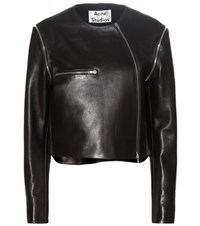 Acne Studios Marrau Cropped Black Leather Jacket
