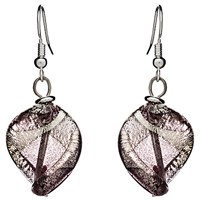 Martick Twist Murano Glass Drop Earrings Plum