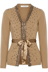 Valentino Embellished Wool And Cashmere Blend Cardigan Brown