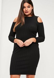Missguided Plus Size Black Ribbed Cold Shoulder Bodycon Dress