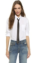 R 13 Shirt With Leather Tie White