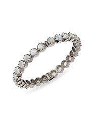 Bavna Rainbow Moonstone And Sterling Silver Hinged Bangle Bracelet
