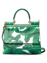 Dolce And Gabbana Sicily Banana Leaf Print Leather Cross Body Bag Green White