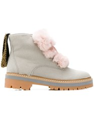 Mr And Mrs Italy Furry Biker Boots Grey