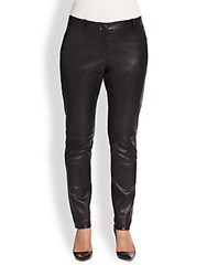 Single Plus Size Leather Front Zoey Stretch Jeans Black