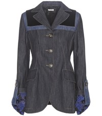 Miu Miu Velvet Trimmed Denim Jacket Blue
