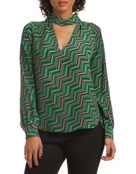 Trina Turk Kit Kat Zig Zag Abundant Silk Top Green