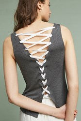 Anthropologie Laced Back Tank Top Grey