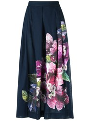 Isolda Floral Patch A Line Skirt Women Cotton 42 Blue