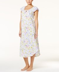 Charter Club Flutter Sleeve Printed Crinkle Knit Nightgown Only At Macy's Botanical