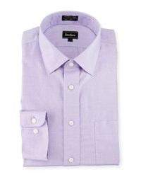 Neiman Marcus Classic Fit Non Iron Textured Dress Shirt Lavender