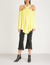 Moandco. Cold Shoulder Asymmetric Pleated Satin Top Aurora