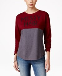 Hybrid Juniors' Long Sleeve Graphic Top Burgundy Heather Charcoal