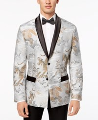 Inc International Concepts I.N.C. Men's Slim Fit Smoking Jacket Created For Macy's Grey Combo