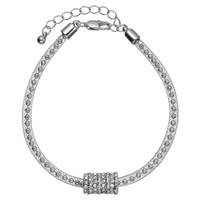 John Lewis Ball And Glass Stone Pave Bracelet Silver