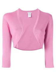 Oscar De La Renta Three Quarter Sleeve Bolero Pink And Purple