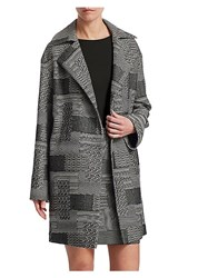 Akris Punto Patchwork Jacquard Coat Black Cream