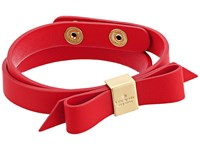 Kate Spade Wrap Things Up Leather Bow Wrap Bracelet Apple Jelly Bracelet Red