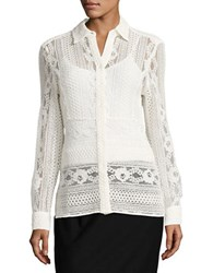 Tommy Hilfiger Lace Button Front Shirt Ivory