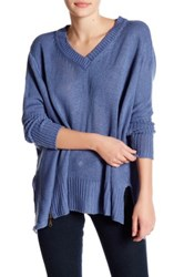 Romeo And Juliet Couture Asymmetrical V Neck Sweater Blue