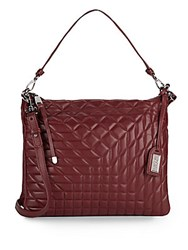 Badgley Mischka Coralie Quilted Leather Convertible Clutch Burgundy