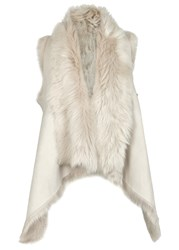 Karl Donoghue Stone Reversible Nubuck And Shearling Gilet Cream