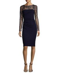 David Meister Long Sleeve Jersey Illusion Cocktail Dress Dark Navy
