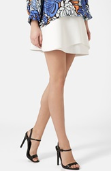 Topshop Curved Hem Skater Skirt White
