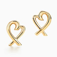 Tiffany And Co. Paloma Picasso Loving Heart Earrings In 18K Gold. 18K Yellow Gold