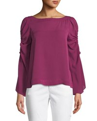 Laundry By Shelli Segal Boat Neck Keyhole Sleeve Top Pink