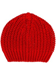 Rick Owens Ribbed Beanie Red