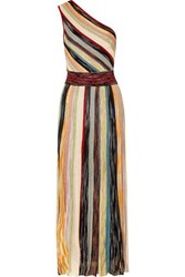 Missoni One Shoulder Striped Metallic Crochet Knit Maxi Dress Burgundy