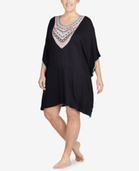 Ellen Tracy Plus Size Printed Neckline Short Caftan Black