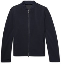 Giorgio Armani Slim Fit Textured Wool Bomber Jacket Midnight Blue